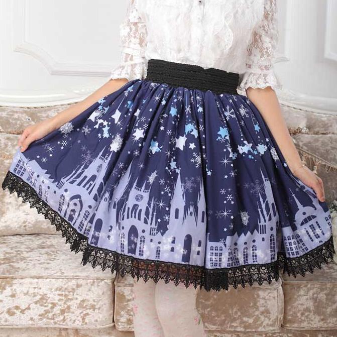 XS-XL Plus size Cute Starry Sky Skirts Castle Lolita Dark Blue Pleated Knee Length Skirt High quality Cosplay Stylish Skirts(China (Mainland))