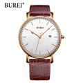 BUREI Women Watch Top Fashion Brand Female Clock Sapphire Watches Genuine Leather Date Waterproof Quartz Wristwatches