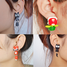 2015 Fashion Summer Style Handmade Polymer Mario Corpse Flower Fox Cat Earring For Women Fine Jewelry brincos bijoux (China (Mainland))