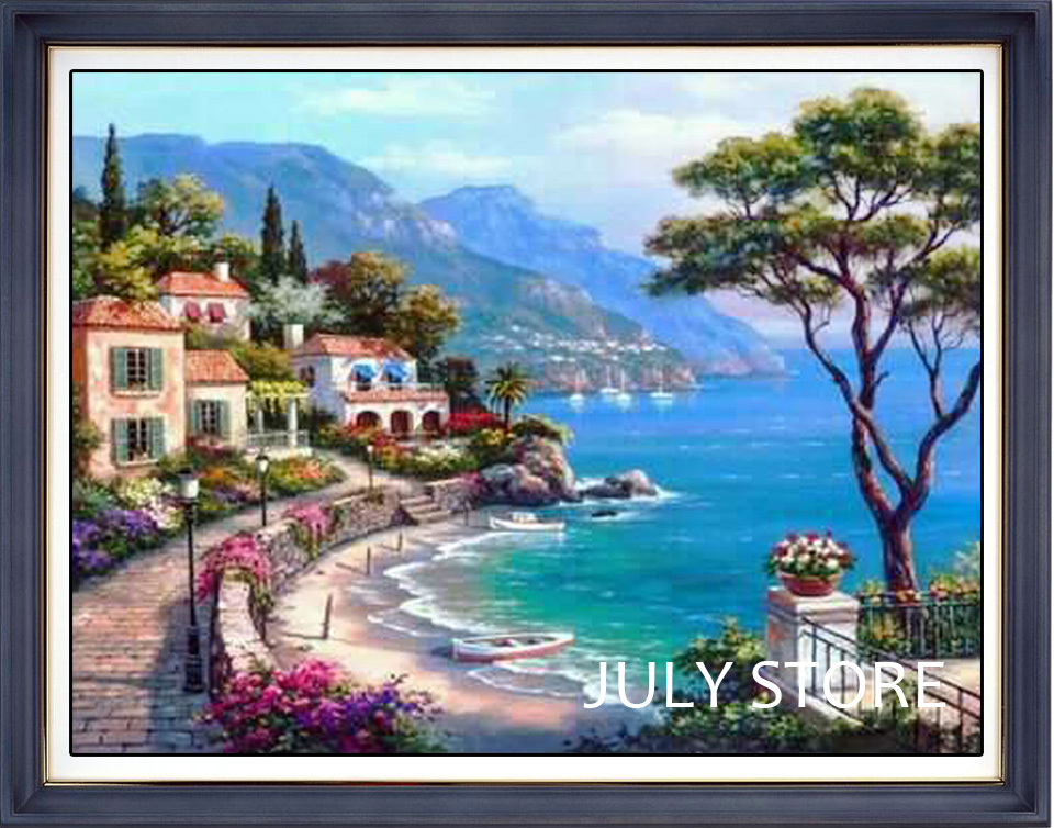 3D Diy diamond embroidery landscape painting full rhinestones pasted painting cross stitch mosaic crafts The Mediterranean Sea(China (Mainland))