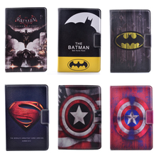 Hot 3D Cartoon Superman Batman Captain America Flip Stand PU Leather Tablet Protective Case For Ipad Mini 4 Retina +Stylus Pen(China (Mainland))