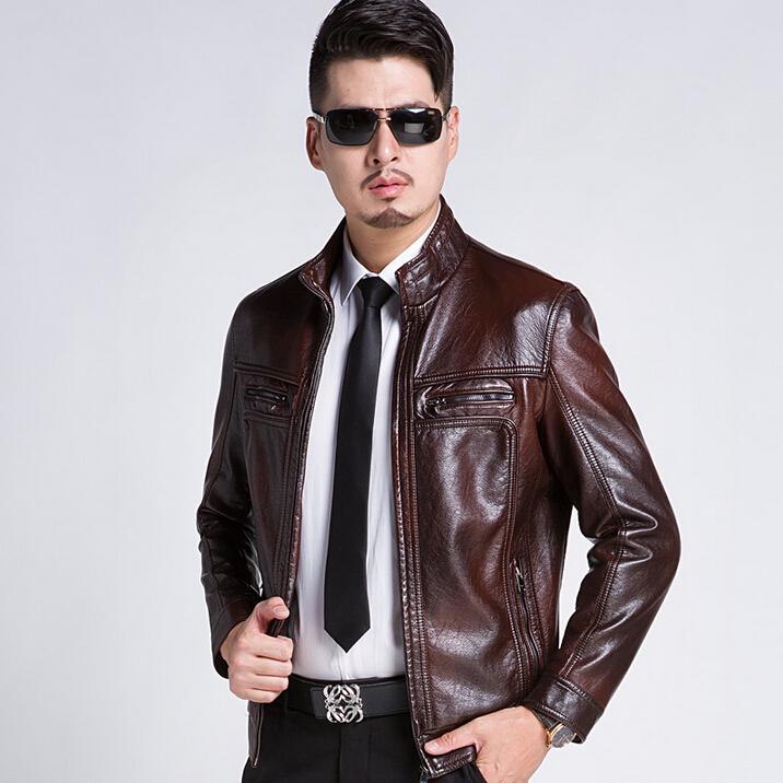 2015 New Fashion Autumn Men's leather jackets Casual Men Motorcycle Leather Coats sheepskin Clothing Plus Size M-XXXL(China (Mainland))