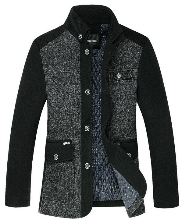 2014 New Brand Mens Wool Coat Casual Jacket for men Mens thicken Jackets Winter Men Overcoat Plus Size:M,L,XL,XXL,XXXL 8818Одежда и ак�е��уары<br><br><br>Aliexpress