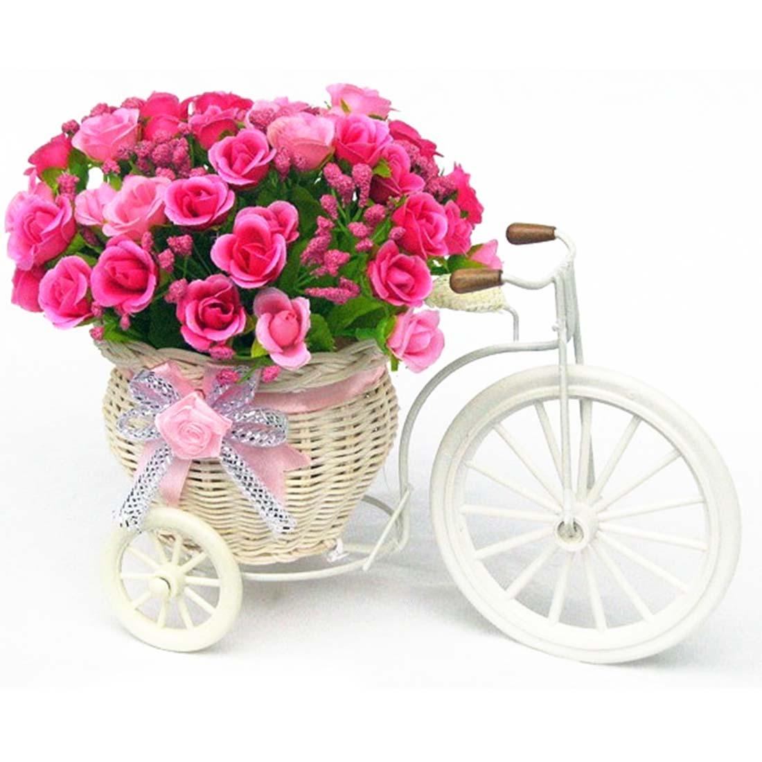 Big Wheel Round Flower Basket Simulation Rattan Floats Flower Vase Flowerpots