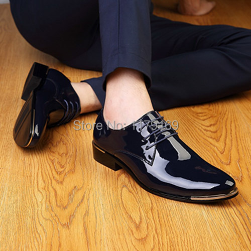 new style men business leather shoes lace up pointed toe Oxford shoes party star Formal Wedding shoes patent leather shoe xz242<br><br>Aliexpress