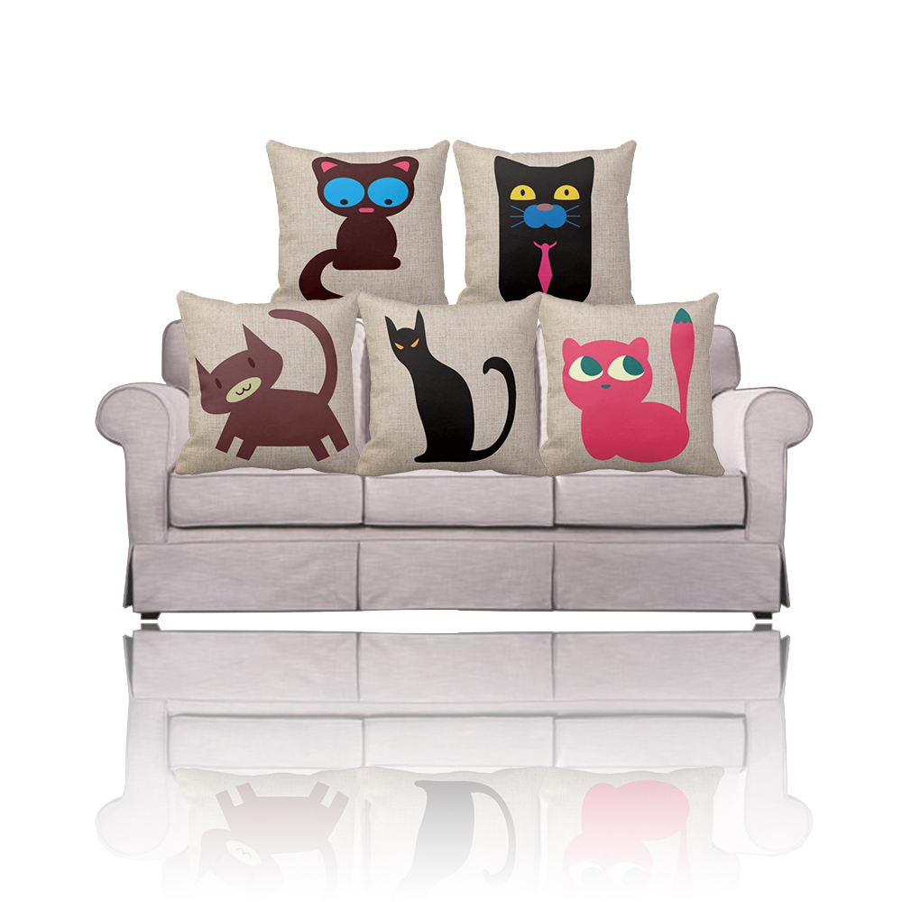 Cheap decorative cat pillow case 16x16/18x18/20x20