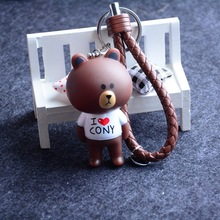 Buy Leather Braided Rope Keychain Animal Browna Bear White abbit Keychain Woman Key Holder Chain Ring Charm Bear Doll Keyring for $4.05 in AliExpress store