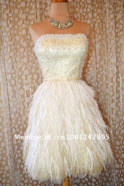 Fashion Bling hoemecoming dresses Short custom made Strapless Beading Light yellow Sequined Feather Party dress Cocktail dress