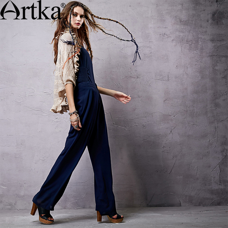 Artka Women's Pleated Chiffon Loose Trousers 2015 NEW Spring Solid Color Modern Woman Vintage Cotton Pants KA14051X - store
