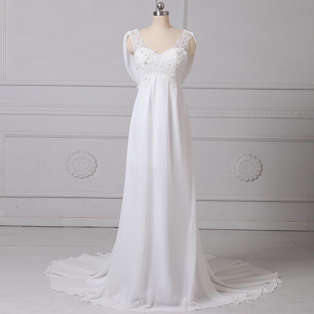 Cheap Stock Chiffon Beach Wedding Dress 2017 V-neck Lace Applique Beading Boho Wedding Gowns Plus Size Bridal Vestido De Noiva(China (Mainland))