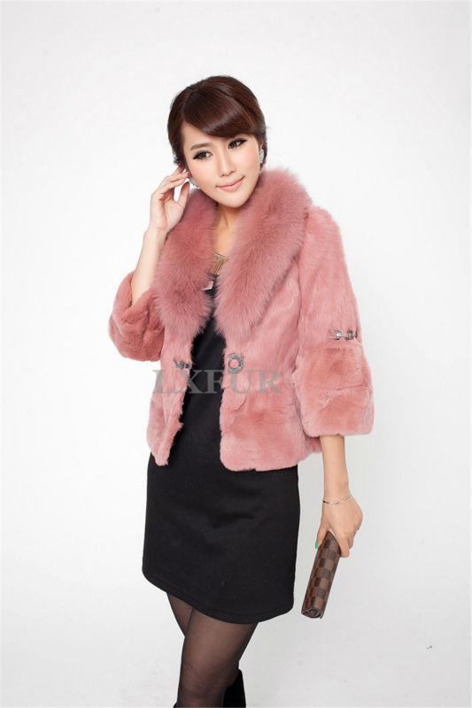 LX00087 Womens Graceful Genuine Rex Rabbit Fur Jacket Fox Collar Solid Short Coat Fashion Warm Outwear - LuxuryFur store