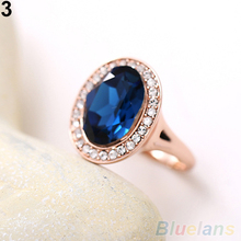 Women's Fashion Korean 9K Rose Gold Plated Crystal Alloy Party Jewelry Ring 1UAN