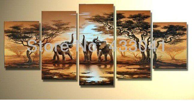 Hand painted african elephants family savanna sunset African elephant home decor