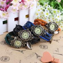 Alta calidad mujeres del cuero genuino Vintage relojes de pulsera brazalete hoja del colgante antiguo de vestir envío gratis del reloj