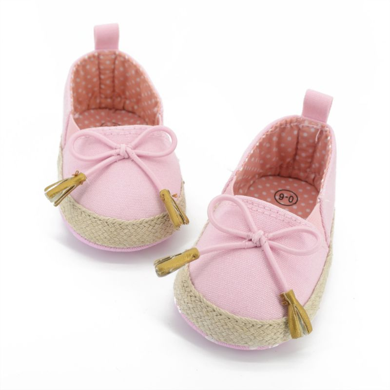 New Arrival New Kids Baby Girls Soft Soled Bowknot Crib Shoes Toddler Canvas Prewalker 0-18M