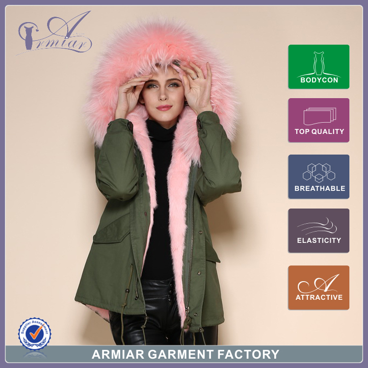 2015 new style Mr mrs furs coat hooded light Fashion Pink color army green unisex trench M001-17 - Guangzhou Armiar Fur Parkas Store -- Meifng Brand store