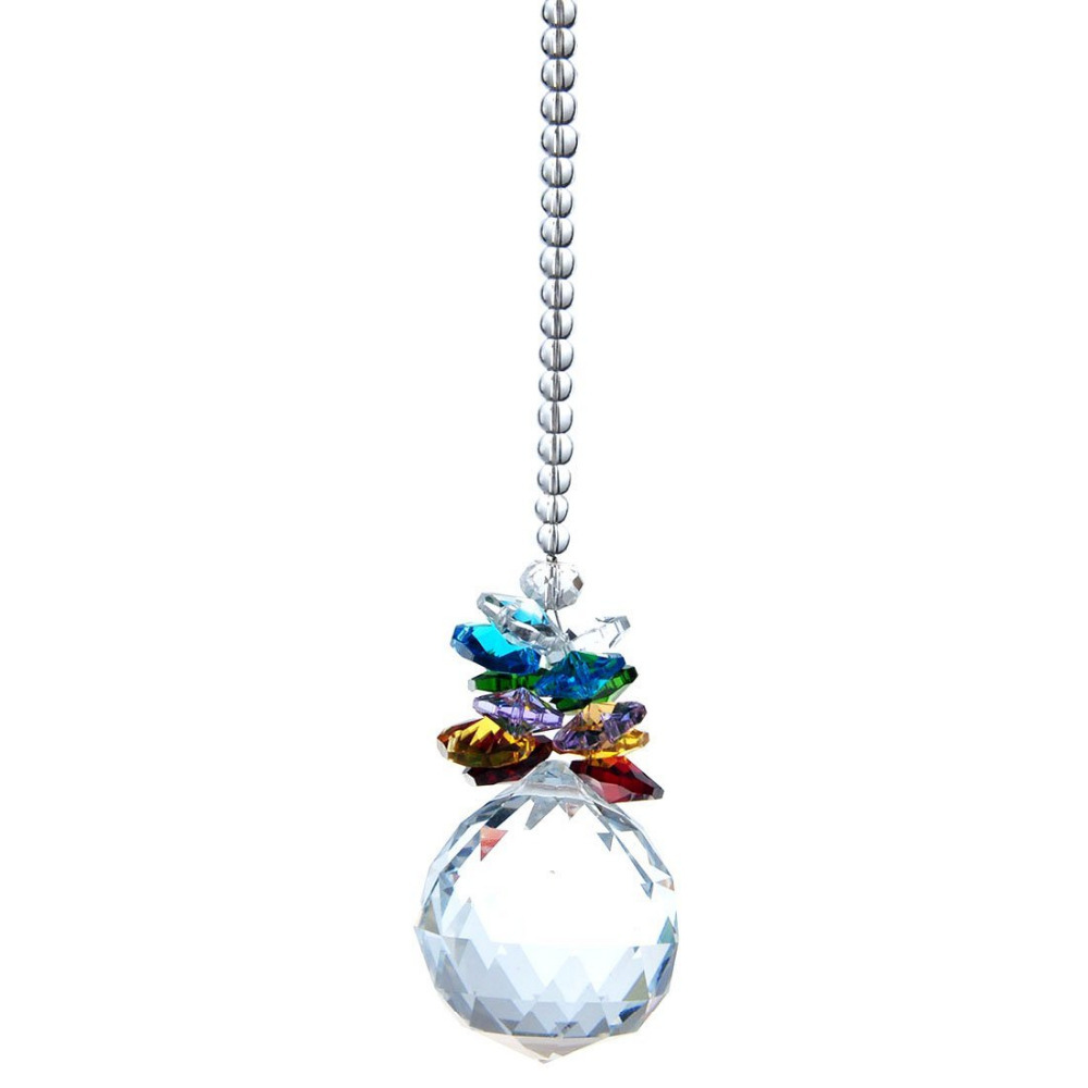 1 crystal ball feng shui rainbow hanging lighting prisms wedding deco pendant m02522 in - Crystal hanging chandelier ...