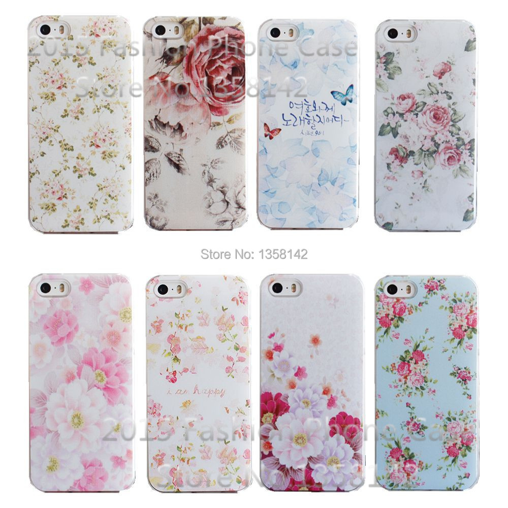 2016 New Arrive Flower 17 Design Painted Black Cover Case Apple Phone iPhone 5 5S SE 1piece - HongKong Five-A Group Co.,Ltd store