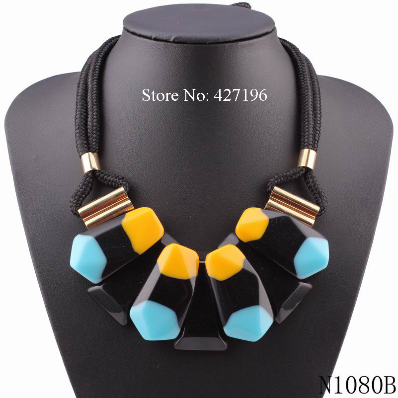 2016 high quality fashionable new design rope chain choker chunky necklace acrylic geometric shape statement women necklaces(China (Mainland))