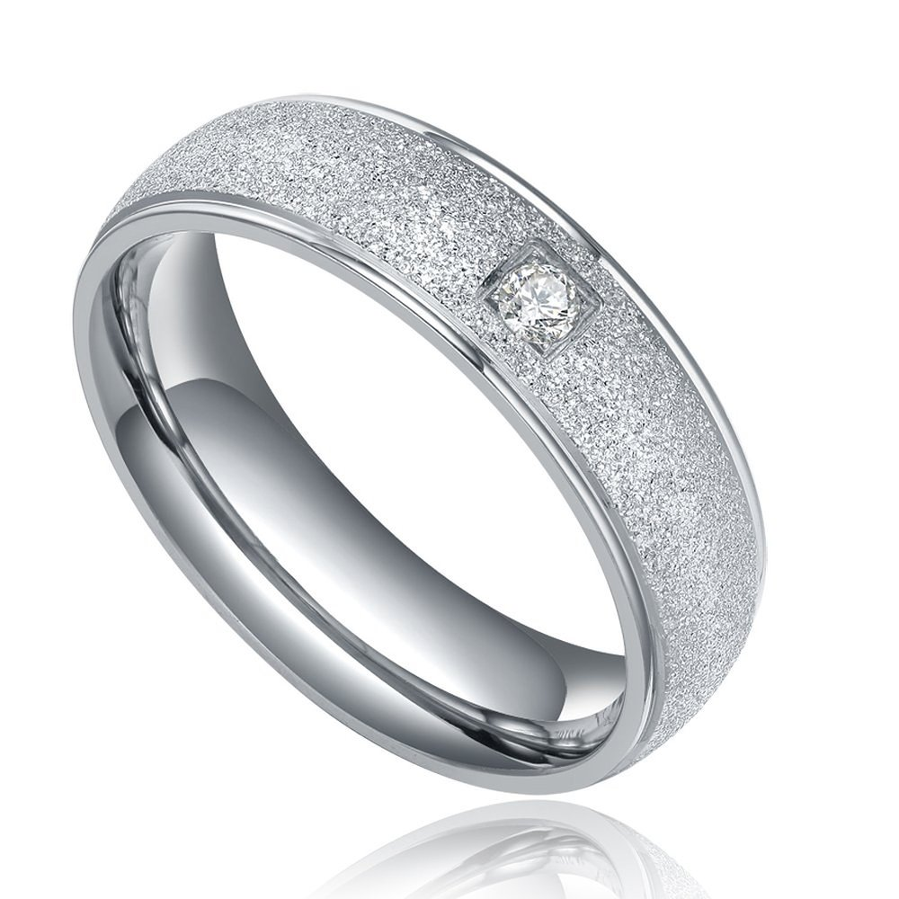2016 Top Quality Engagement Wedding Band For Women Stainless Steel Rings With CZ Stone Fashion
