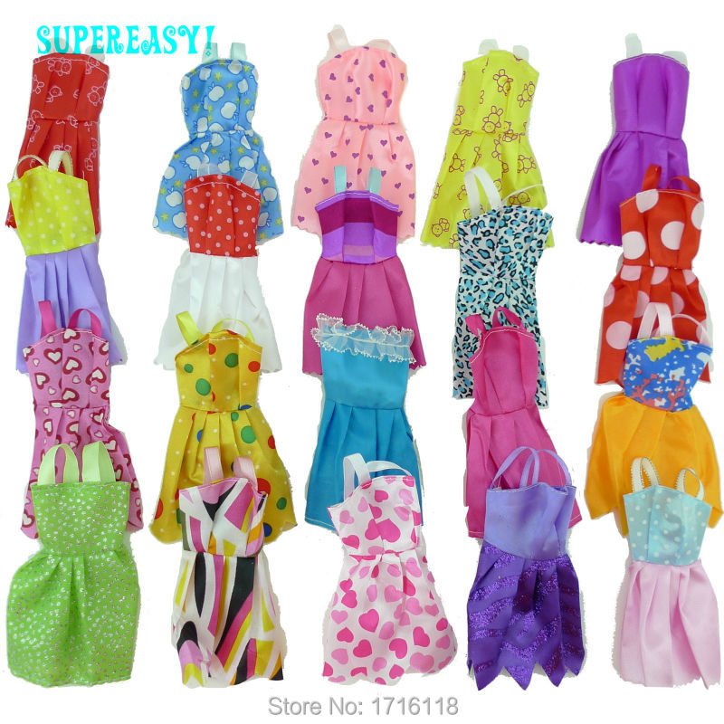 Random 12 Pcs Mix Sorts Beautiful Handmade Party Dress Fashion Clothes For Barbie Doll Kids Toys Gift Play House Dressing Up(China (Mainland))