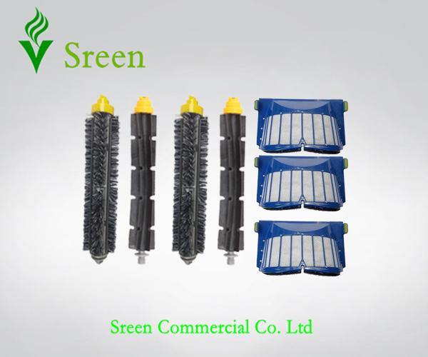 3 x AeroVac Filters + 2 Set Robotic Brush Kit for iRobot Roomba 600 Series 595 620 630 650 660 Vacuum Cleaning Accessory(China (Mainland))