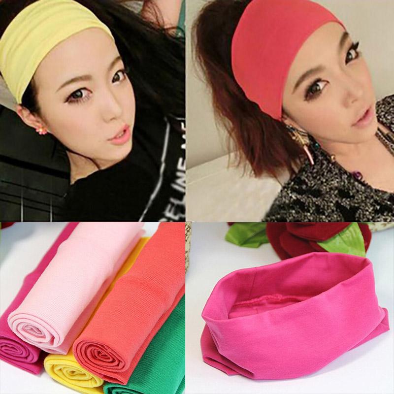Fashion women headwear candy color hair ribbon sport cotton wide headband popular Summer absorb sweat Yoga hair band for girls(China (Mainland))