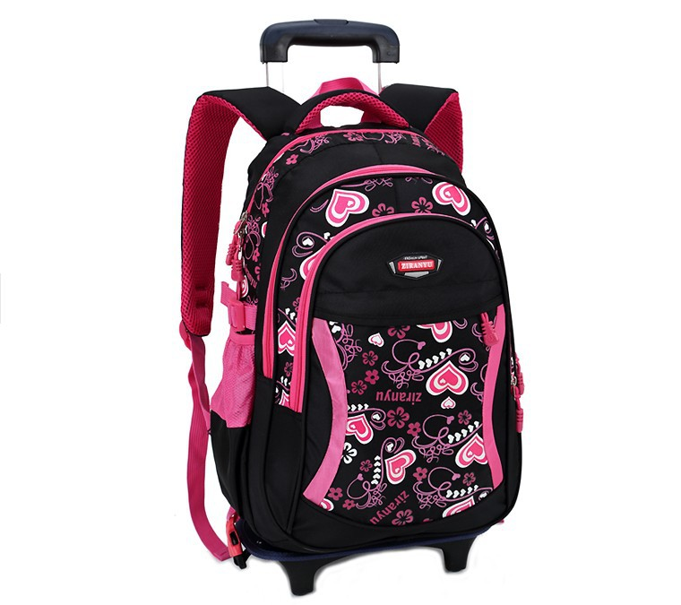 Lovely Heart Printing Girls Trolley School Bags Backpack Bag Wheels Primary Satchel Children Travel Luggage - World store