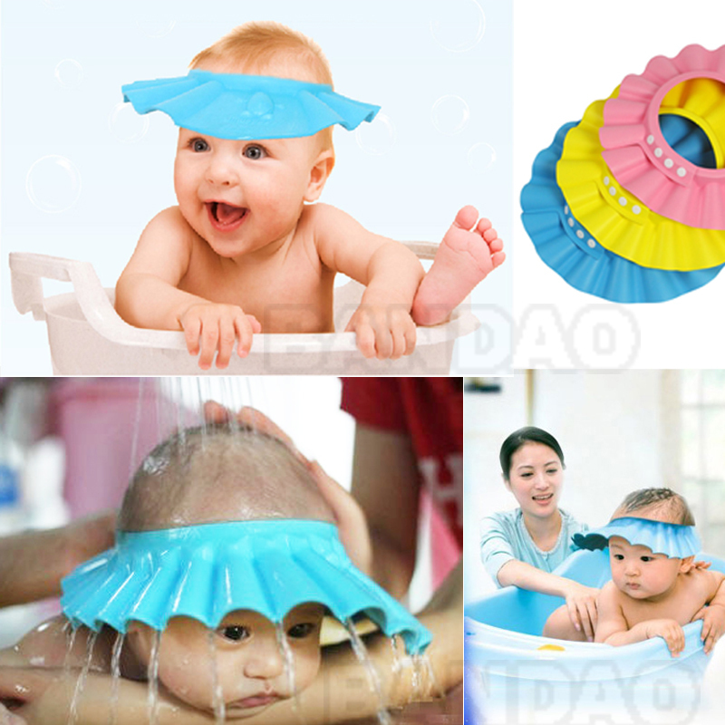 1pc Free shipping Eco-friendly Adjustable Shower cap Shampoo cap for baby Bathing waterproof hat for Washing Hair(China (Mainland))