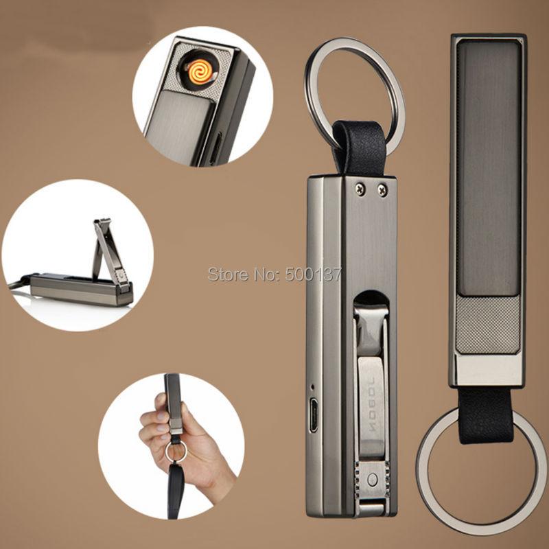 ถูก Rechargeable Electronic USB Windproof Cigarette Keychain Lighter With Attached Nail Clippers