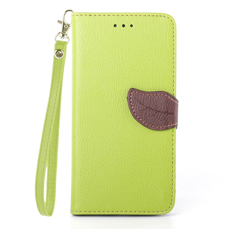 Luxury Fashion Leaf Shape PU Leather Flip Cover Full Protect Wallet Bag Card Insert hand Strap Case For iPhone 6 plus 6s plus(China (Mainland))