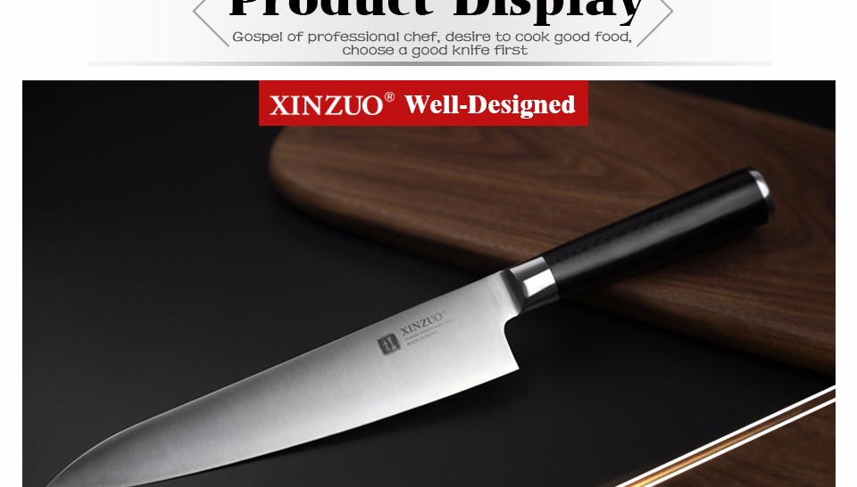 Buy XINZUO 8 inch butcher knife 3-layer 440C clad stainless steel chef knife kitchen knives chef's knives G10 handle free shipping cheap