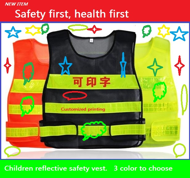 Reflective safety traffic pupil clothing children reflective vests fluorescent mesh reflective safety clothing<br><br>Aliexpress