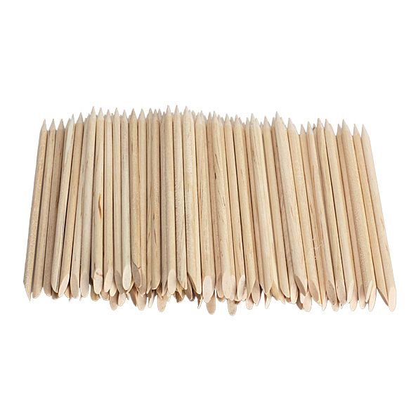 100pcs Nail Art Orange Wood Stick Cuticle Pusher Remover For Manicures HB88