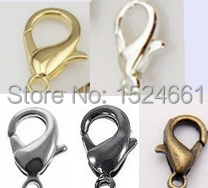 free shipping 12mm zinc alloy jewelry findings lobster parrot clasps hook 100PCS silver gold antique bronze(China (Mainland))