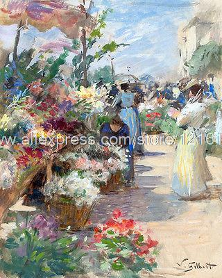 Gilbert Victor The Flower Market Wall Decoration Hand Painted Black White Canvas Wall Art Paintings On Canvas Study Ar(China (Mainland))