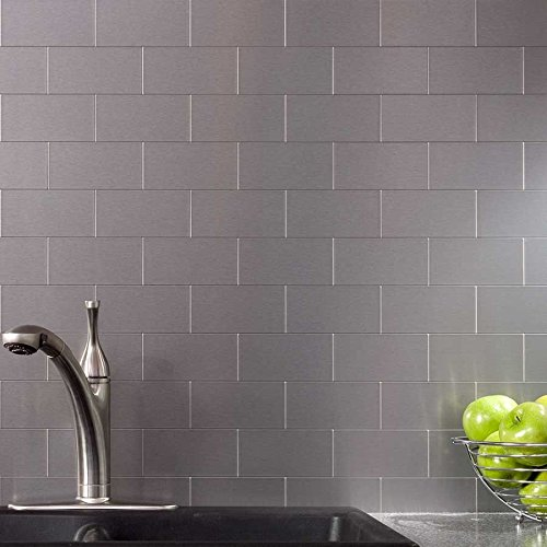Peel and stick stainless steel backsplash tiles 33939 x 6 for Stainless steel subway tile backsplash peel and stick