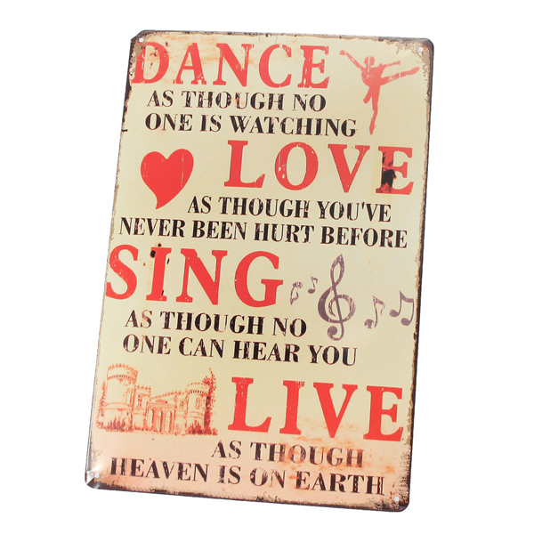 20X30CM Metal Tin Signs Retro Decoration House Cafe Bar Vintage Dance Love Sing Live Metal Plaque Wall Pictures(China (Mainland))