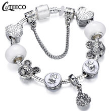CUTEECO 925 אופנה כסף קסמי צמיד צמיד לנשים קריסטל פרח פיות חרוז Fit מותג צמידי תכשיטי Pulseras Mujer(China)