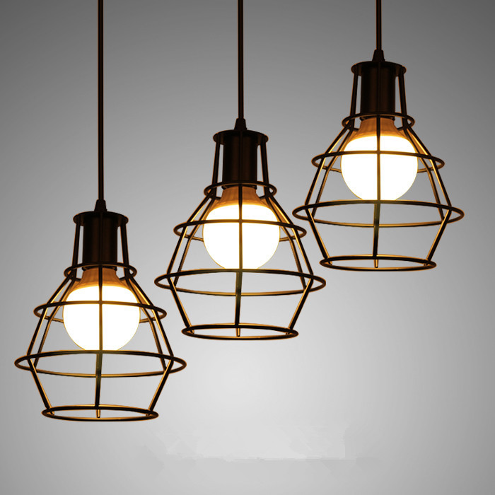 buy loft iron cage pendant lights with e27 bulb vintage lamp industrial hanging. Black Bedroom Furniture Sets. Home Design Ideas