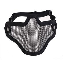 Adjustable Strike Steel Mesh Airsoft Half Face Mask Protector Black H1E1(China (Mainland))