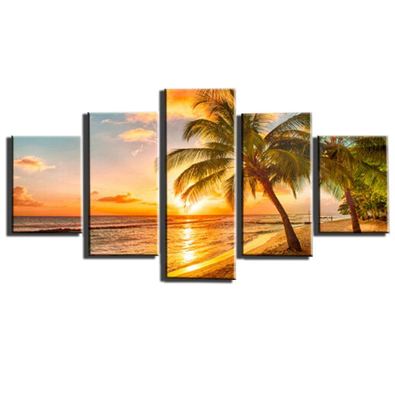5 piece cuadros decoracion sunset seascape beach canvas for 5 piece mural