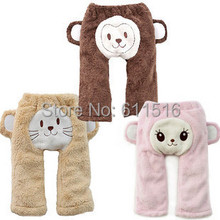 3 Colors Cute Pants Baby Boy Animal Cute PP Thick Winter Pants Monkey Lion and Pink Rabbit Pants Free Shipping 6 Pieces/lot (China (Mainland))