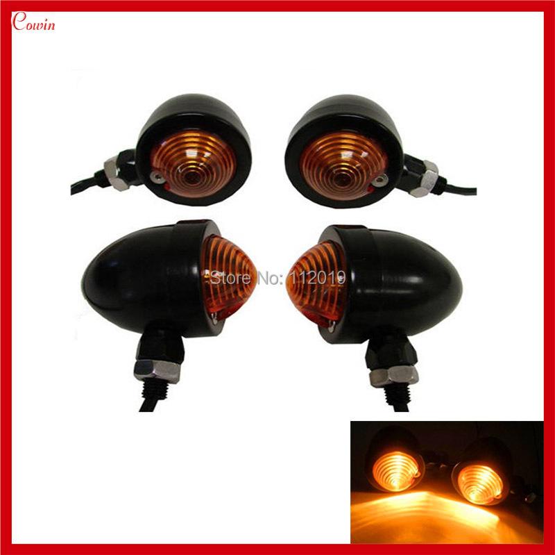Pair Black Amber Bullet Turn Signal Light Motorcycle Suzuki Honda Harley Bobbers Chopper - Cowin Technology Co., Ltd. store