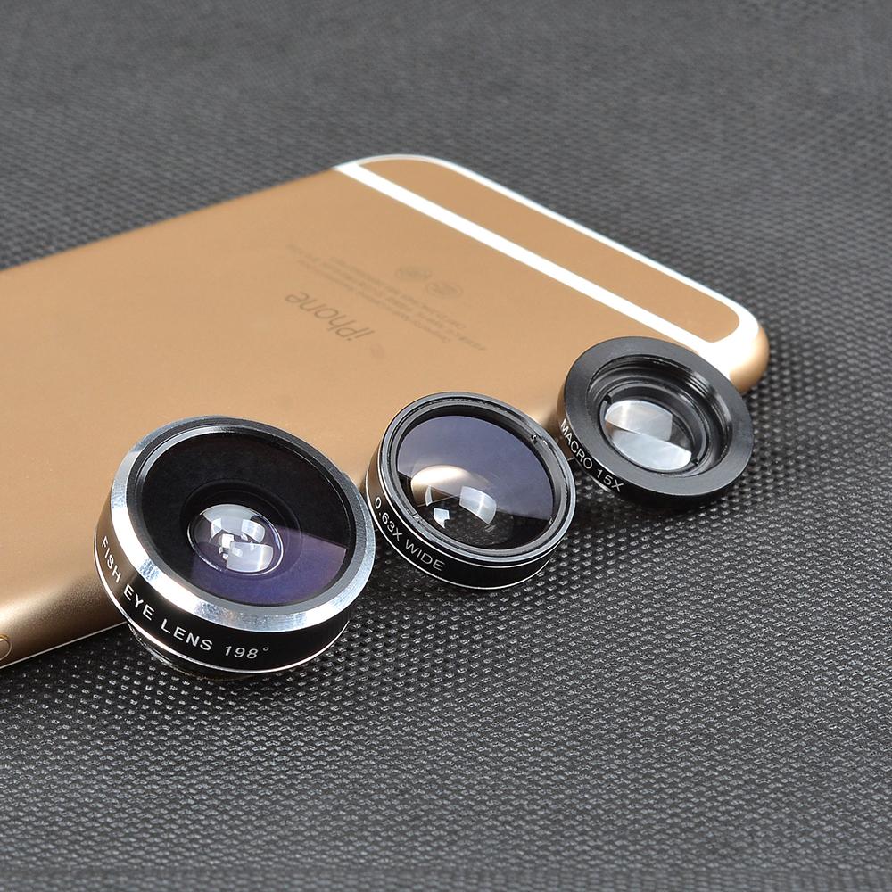 Camera Lens Kit cell phone 3 1 Universal Clip-on Lens, Fish Eye Lens, Macro Wide Angle Lens Xiaomi iPhone DG3
