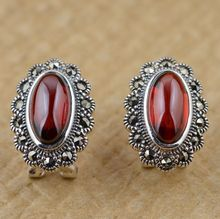 566 Ethnic Jewelry Retro  Stud Earrings Red Zircon Earring Women Stones Thai Silver Jewelry Ed067(China (Mainland))