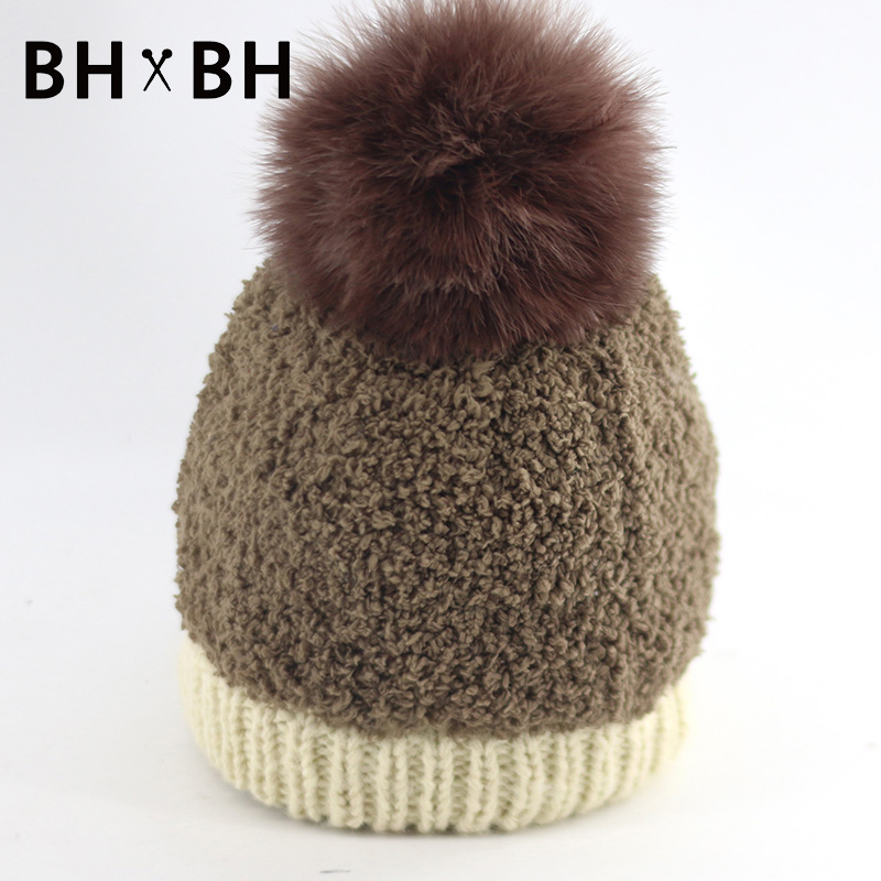 2016 New Arrival female knitted soft hat for women fashion mixed colors crochet ladies warm cap with Fur Pom headwear BH-B2625(China (Mainland))
