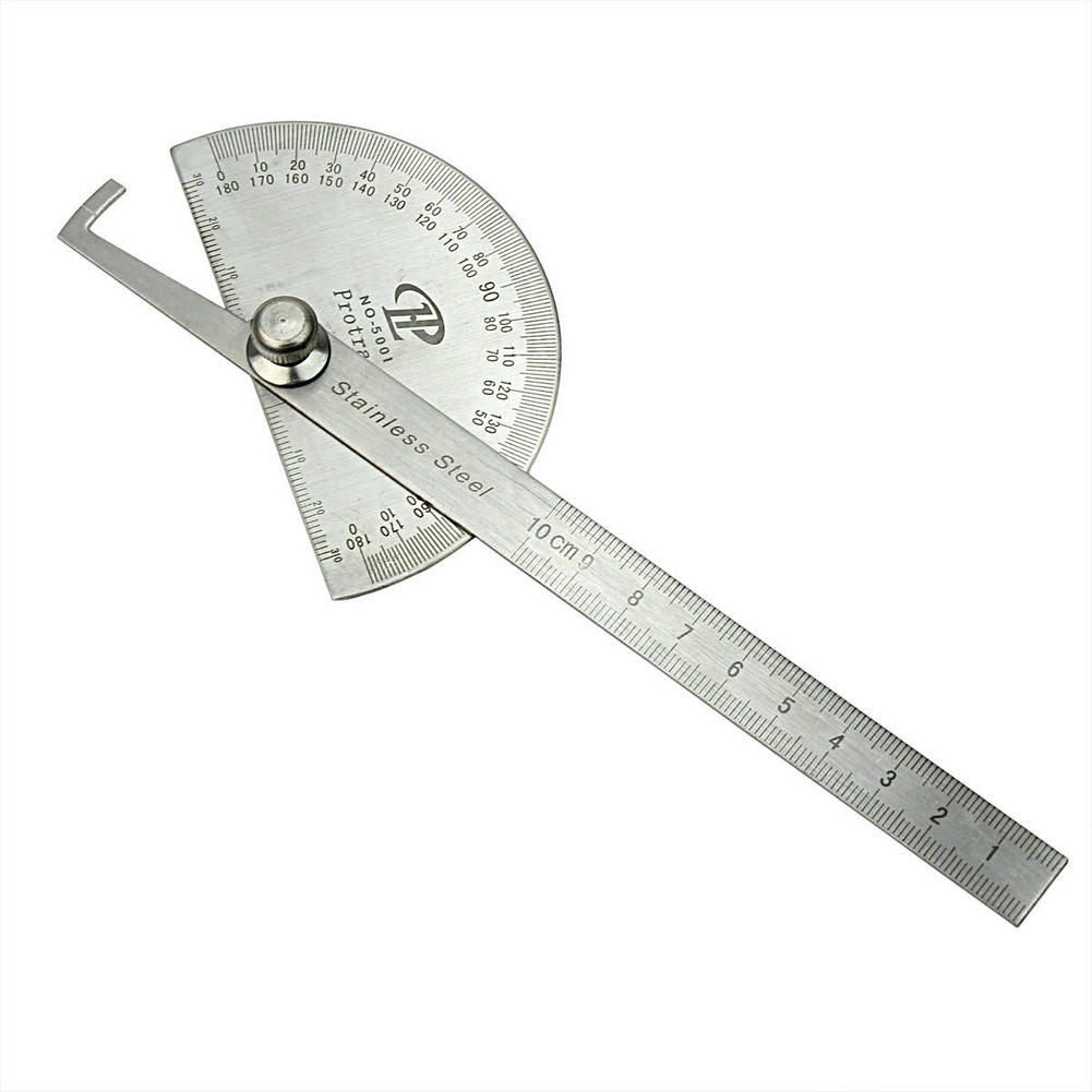 Metal Carbon Steel 180 Degree Rotating Protractor Metric Ruler Round Head Angle Finder Measuring Tool School Drafting Supplies(China (Mainland))