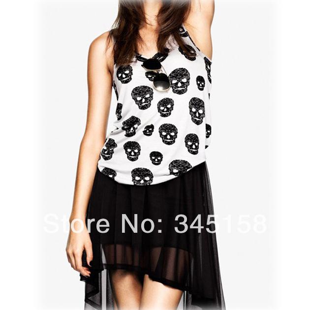 New fashion women tshirt camisas plus size skull shirts punk rock with a skull free shipping C0044(China (Mainland))