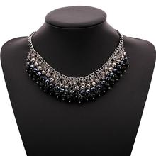 Black Rhinestone Sexy Lady Wearing A Long Section Of the Classic Style Round Crystal Pendant Necklace Free Shipping N208